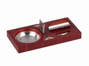 Zigarren Set Rosewood mit Ascher, Cutter, Rundcutter